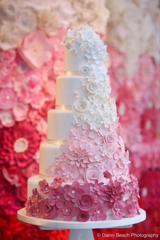 Hochzeitstorte Blumen weiss rosa pink  Mademoiselle No More ...