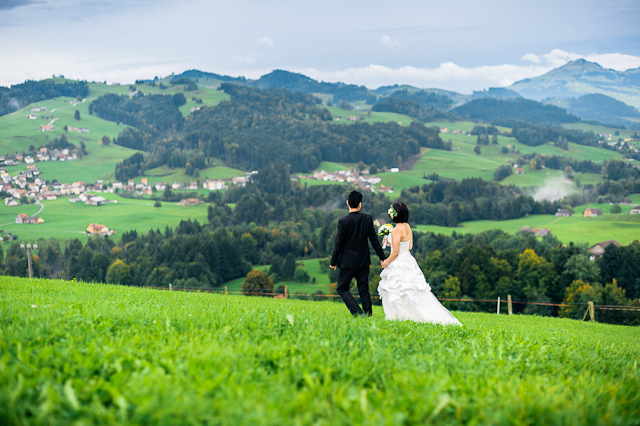 Pre wedding photo shoot with Karen and Sausage in Switzerland.