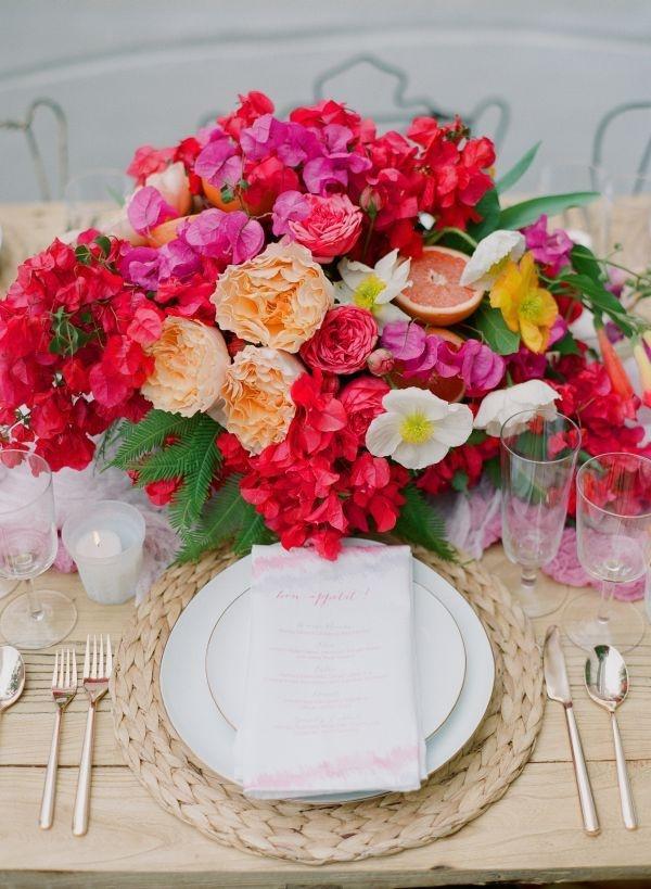 Blumen Tischdeko Centerpiece Hochzeit Bunt Sommer Mademoiselle No