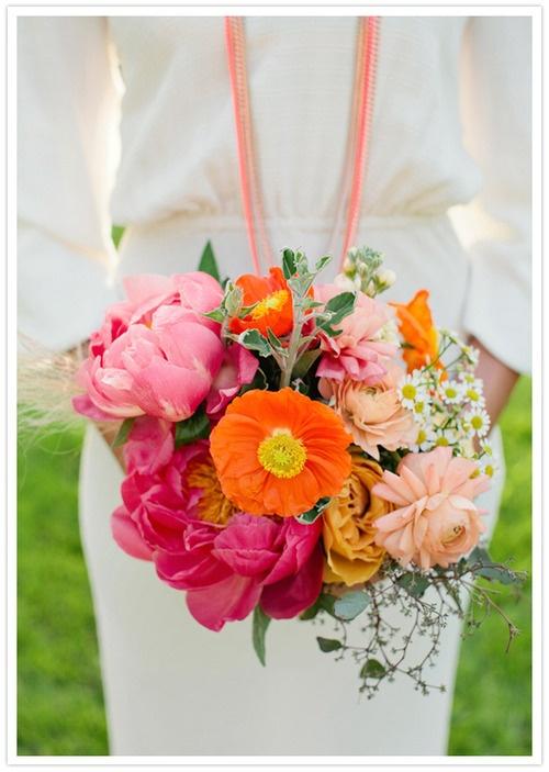 Brautstrauss Hochzeit Blumen Pink Orange Mademoiselle No More