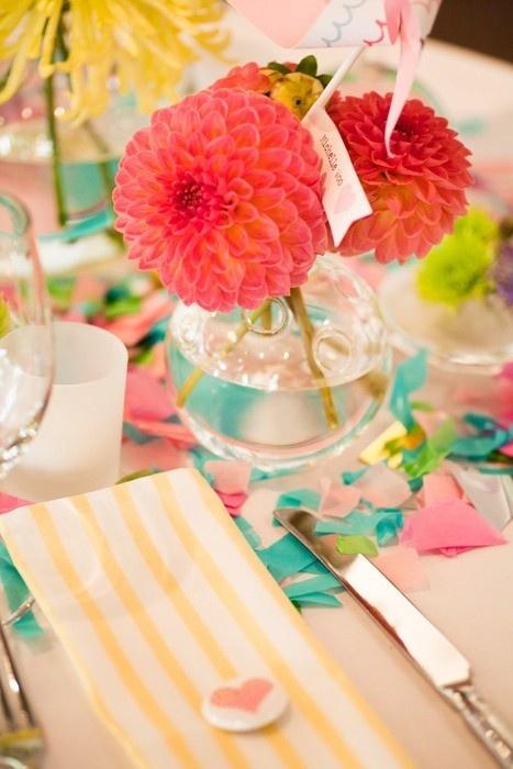 Tischdeko Hochzeit Pink Gelb Dalien Mademoiselle No More