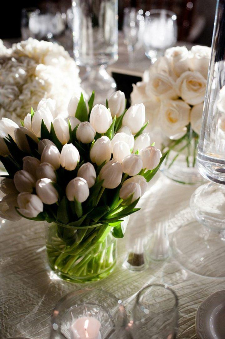 Tischdekoration Tulpen Weiss romantisch Hochzeit  Mademoiselle No ...