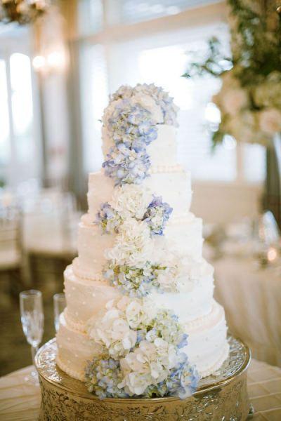 Hortensien Hochzeitstorte Blau Weiss Vintage Mademoiselle No More