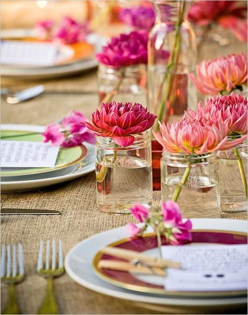 Tischdeko Hochzeit Dalien Pink Rustikal Mademoiselle No More